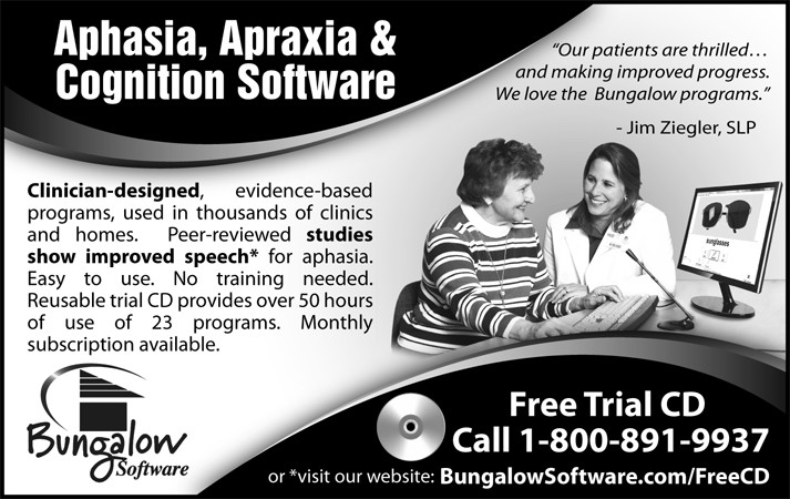 B&W Print ad for speech therapy software