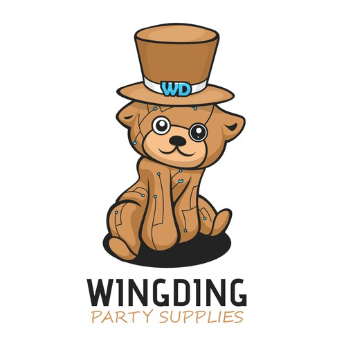 Fun and Playful logo mascot for WingDing party supplies