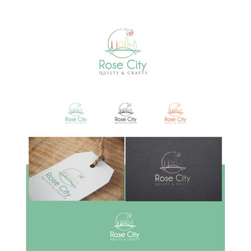 Logo design for Rose City Quilts & Crafts