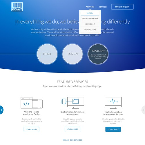 Create an awesome corporate website for DQ