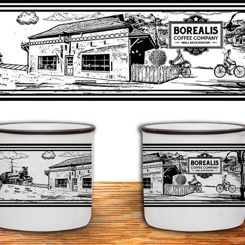 Create a mug illustration for Borealis Coffee Company