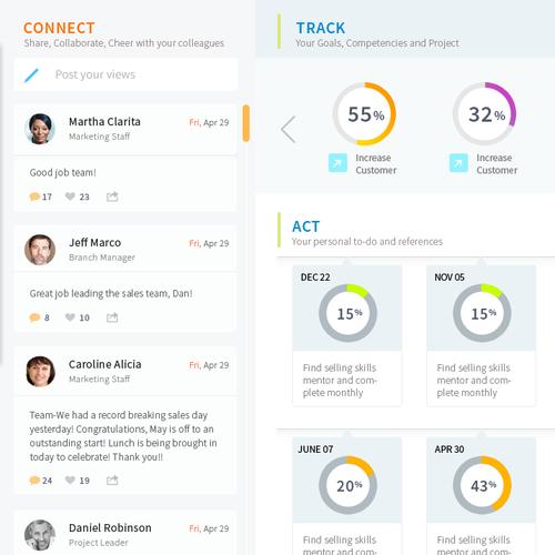 Design slick landing page for AGILE performance management software user interface