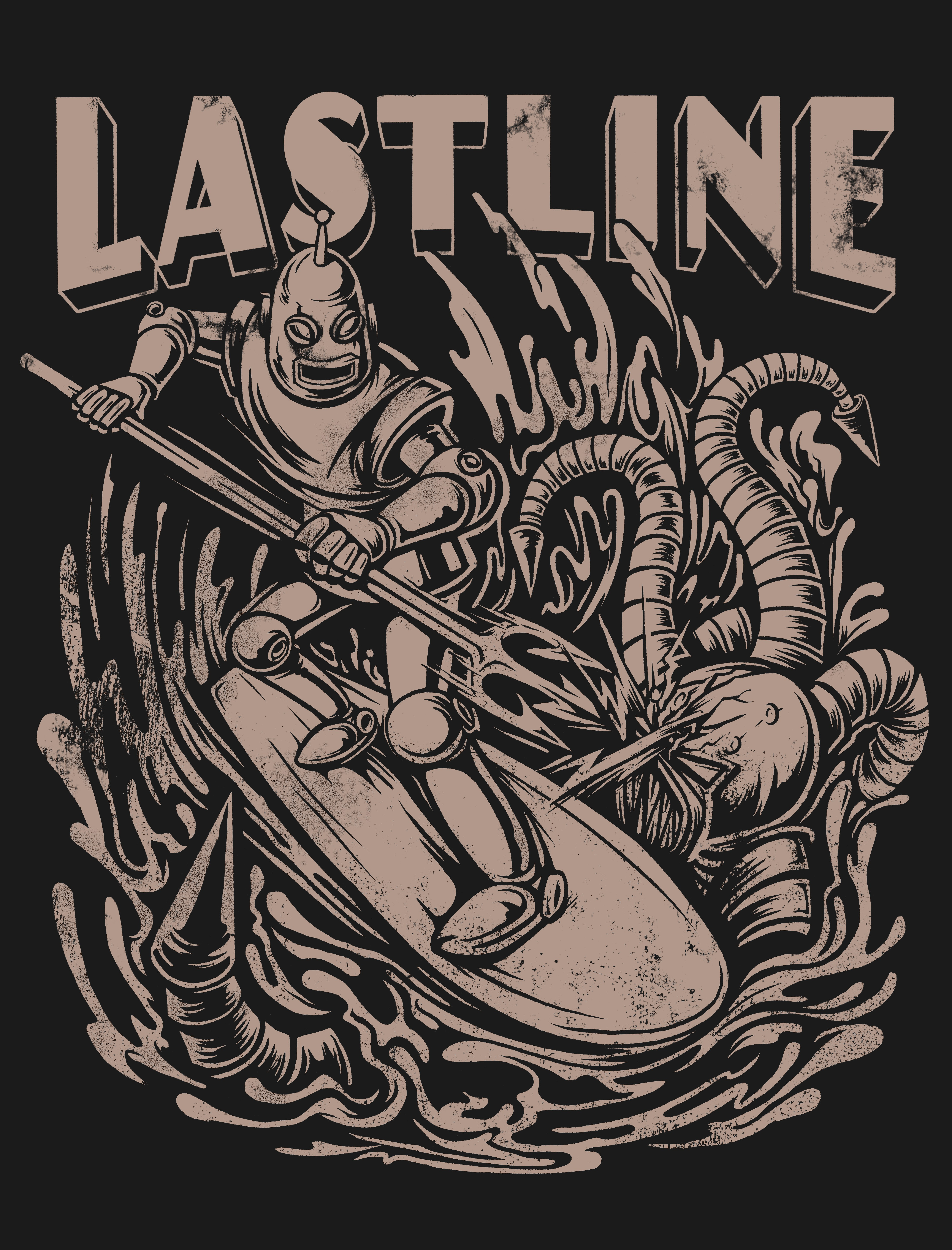Create a malware-killing retro robot surfing for Lastline!