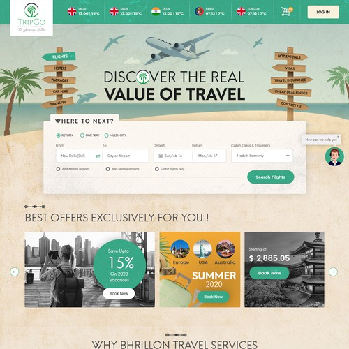 Home Page concept for Bhrillion Travels