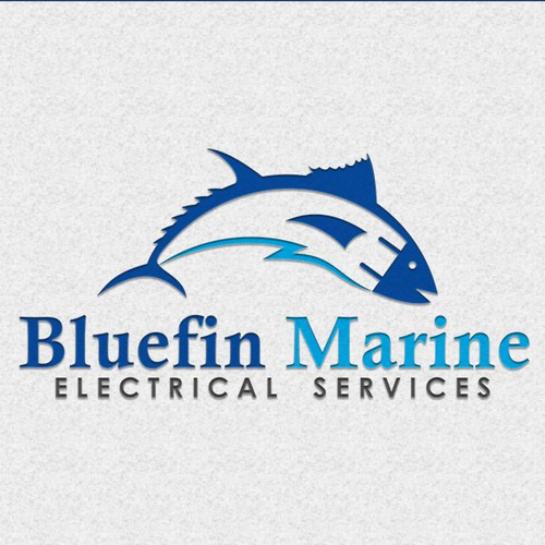 logo and business card for Bluefin Marine Electrical Services
