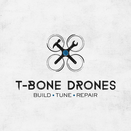 The rustic logo for the company that offers building and repair of drones