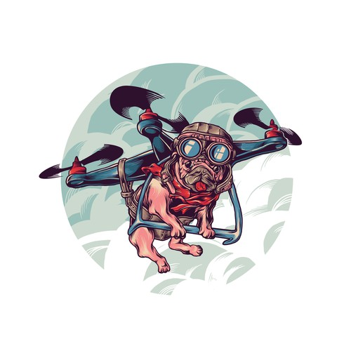 funny illustration of flying dogs