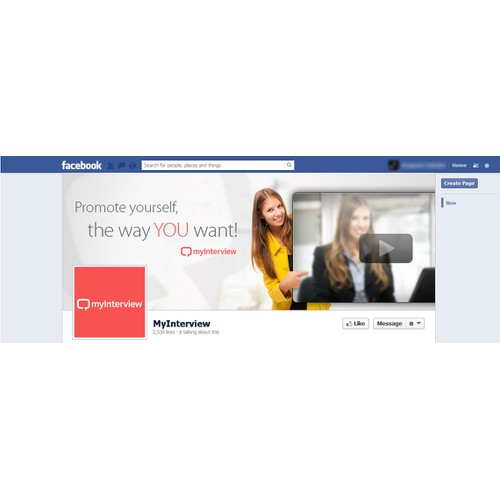 Creative out of the box design for myInterviews facebook page!