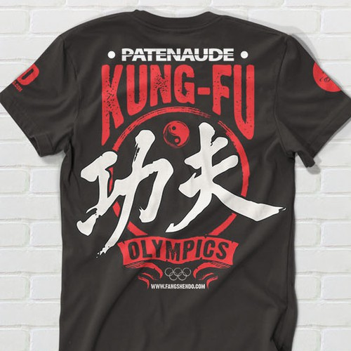 Create a cool t-shirt for kids olympics competition with a kung fu twist!