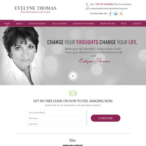 web site design for Life Coach and psychotherapist