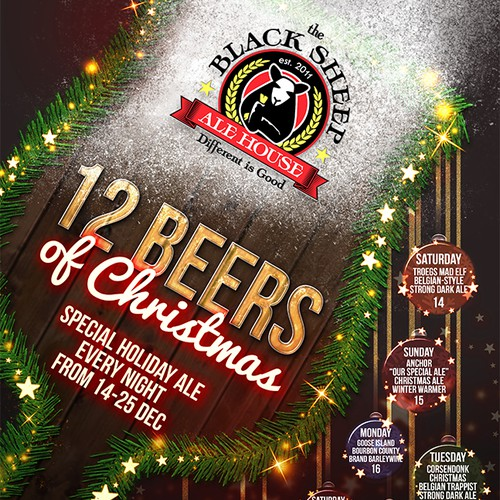 12 Beers of Christmas Flyer for The Black Sheep Ale House