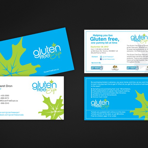 Business Card and Small Event Ticket design for Gluten Free Expo - clean design aesthetic preferred