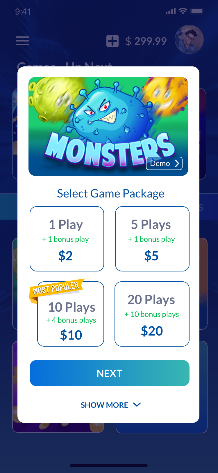 New pages for New Games within the App