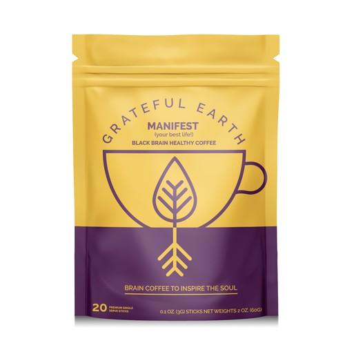 Grateful earth coffee packaging