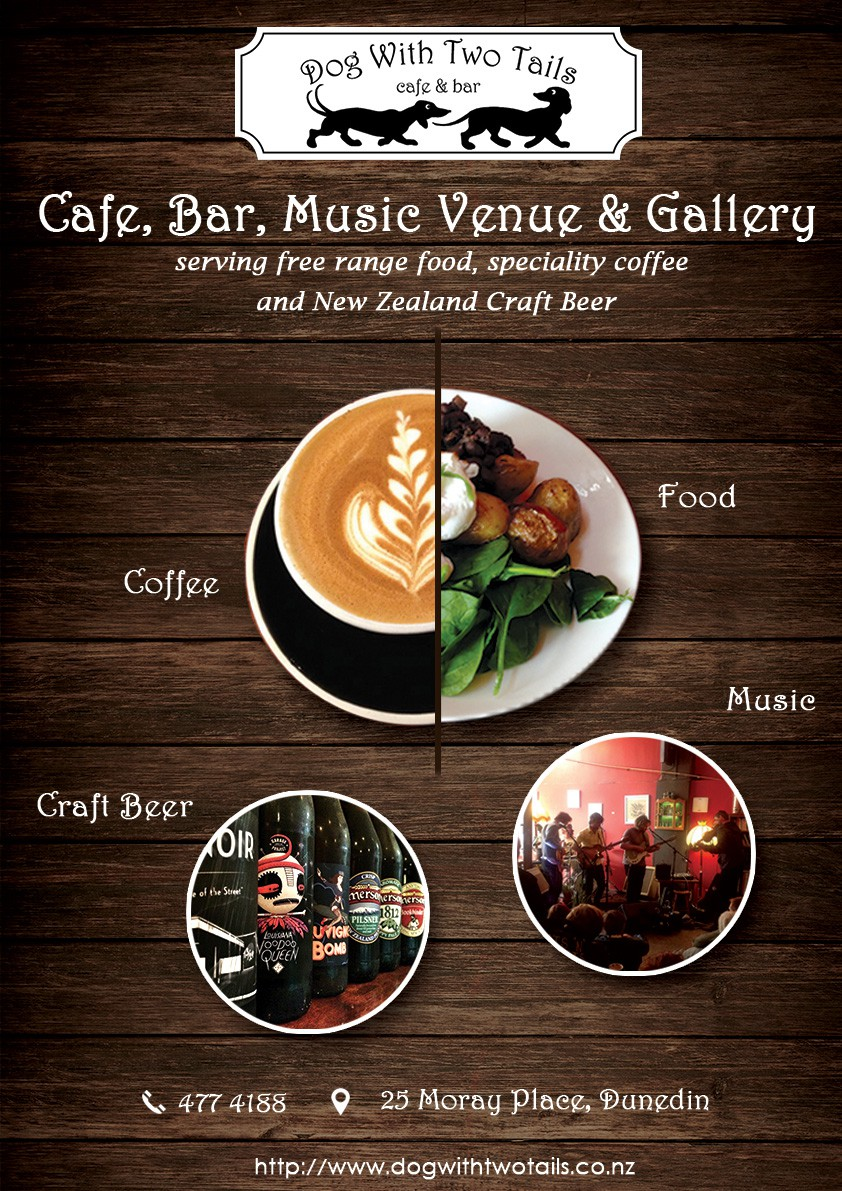 Create a poster to promote an eclectic Cafe, Bar & Music Venue.