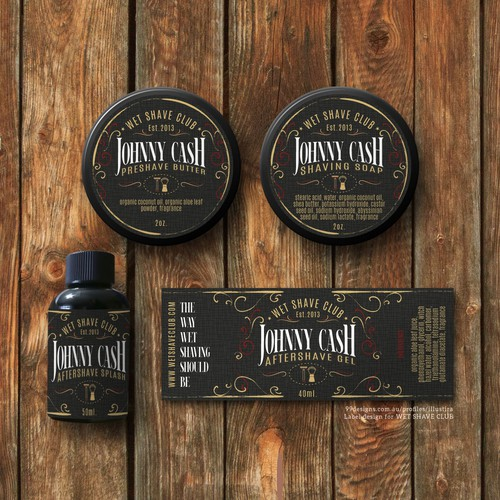 Classy & Vintage Product Label Design for Wet Shave Club