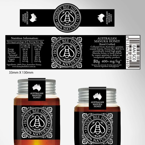 Create a high end Manuka honey label for Honey Bee Hill Co