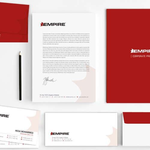 Stationery design for Empire and the slogan is Simplicity the peak of civilization