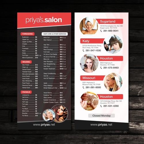 Price List for Priya's Salon