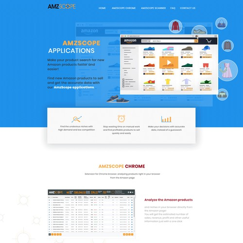 landing page for an Amazon related web applications