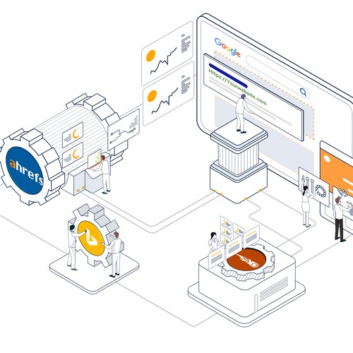 Isometric illustration for Direction Agency