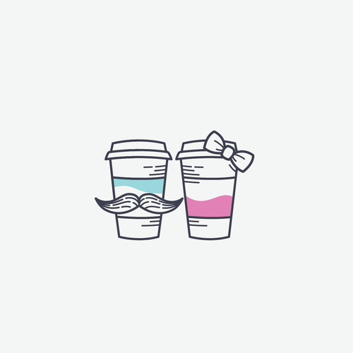 mr & mrs coffe logo concept