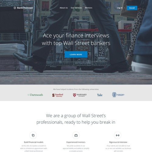 Website design for interview preparation services