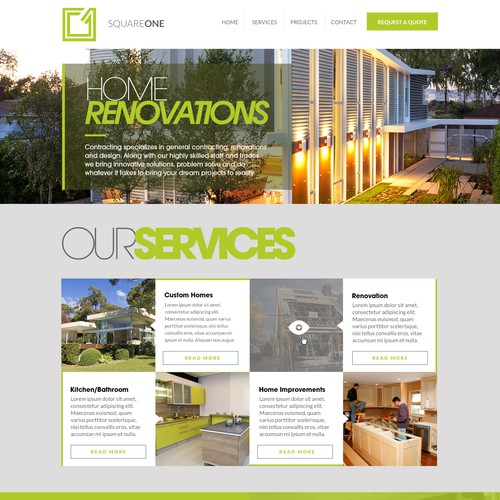 Create the next website design for Square One Contracting (squareonecontracting.ca)