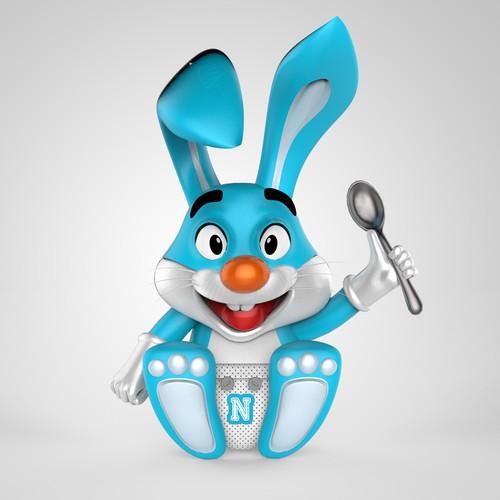 Baby bunny pet 3D Mascot image