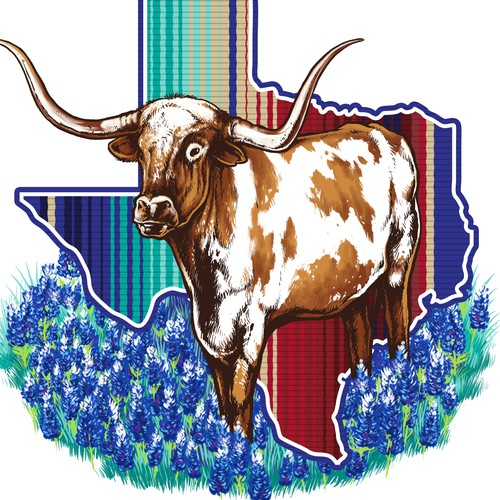 Texas Long Horn for Crazy Train Apparel