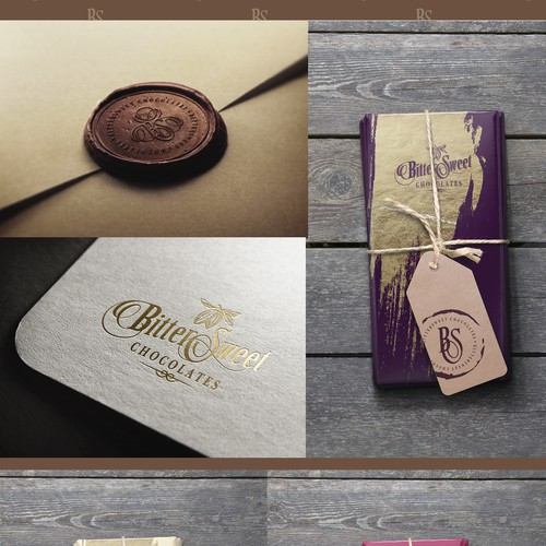 The logo and packaging design for BitterSweet Chocolates