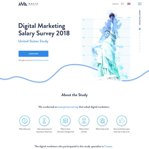 Landing Page with Infographics for Digital Marketing Survey Report