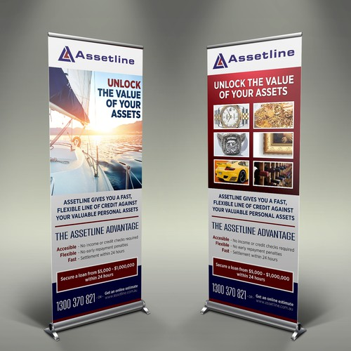 Create a vertical exhibition banner for Australia's leading personal asset lender