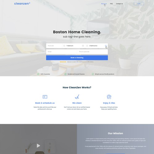 Website concept for cleaning service