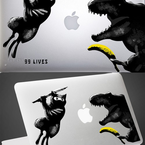 Epic DINOSAUR and CAT illustration needed for a one of a kind custom MacBook Air decal