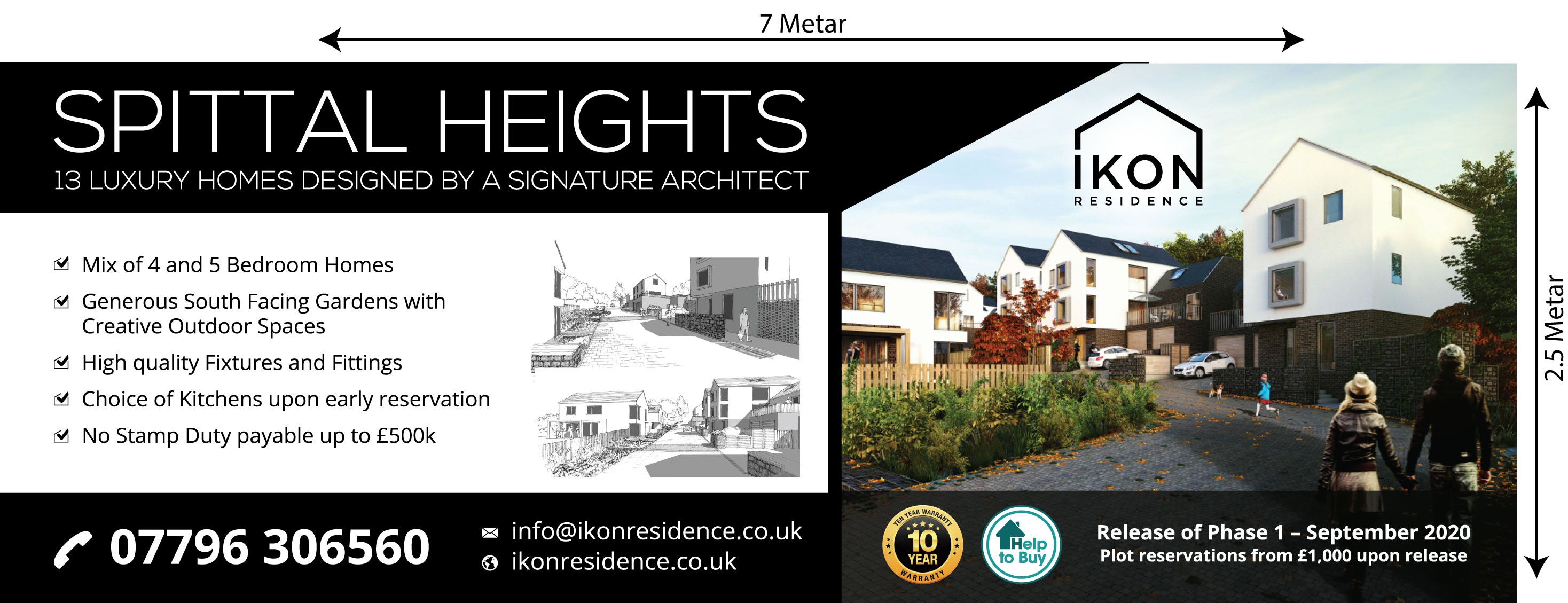 Design a banner advertising a development of 13 luxury homes