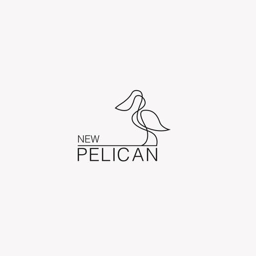 Minimalistic one line pelican logo