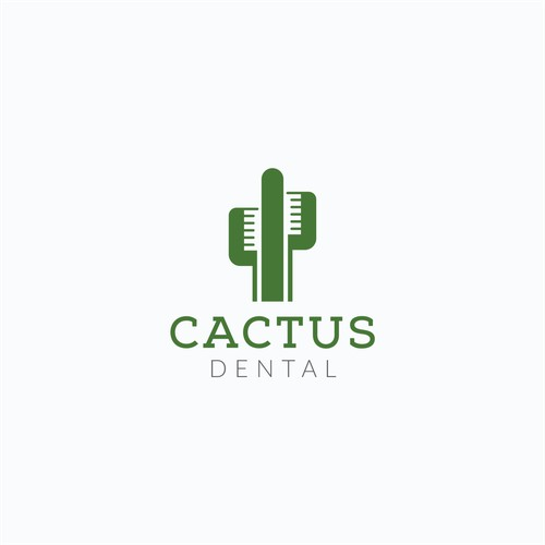 Creative Negative Space Logo for Cactus Dental