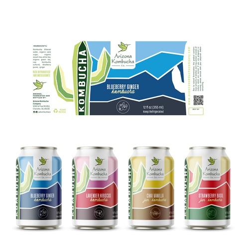 Arizona Kombucha Company - new design for a canned kombucha