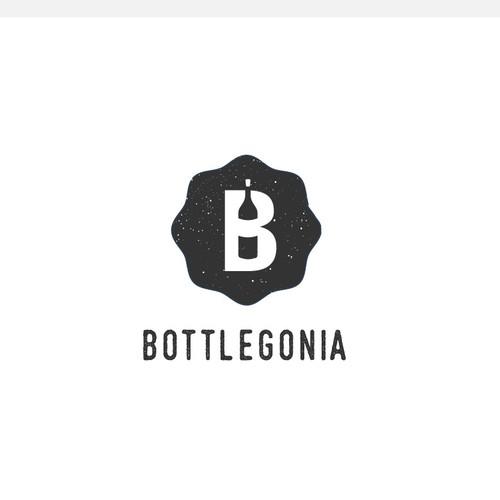 Bottle, wine, beer, brewery, B letter logo design