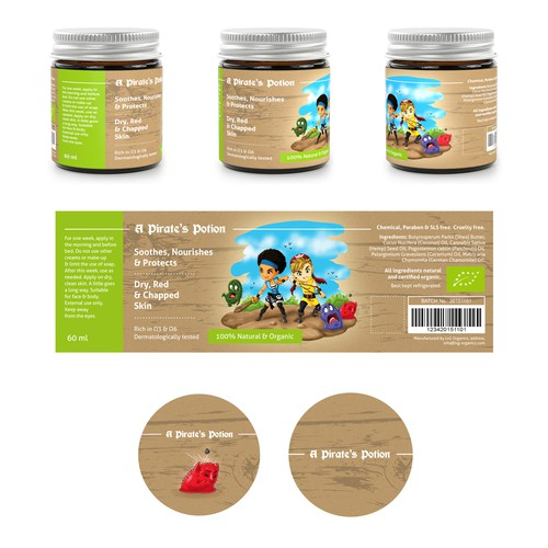 Cool & playful label for kids natural skin product