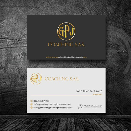 Create an exclusive business card for an executive coaching company