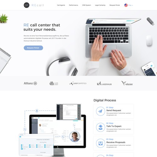 Landing Page design for Call Center tech company