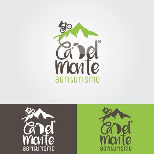 Logo per un agriturismo in montagna, che accoglie sportivi.