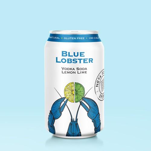 Packaging design for Blue Lobster Vodka Soda