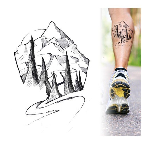 Mont Blanc Running Tattoo