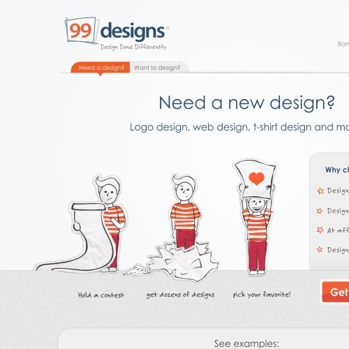 99 designs web redesign