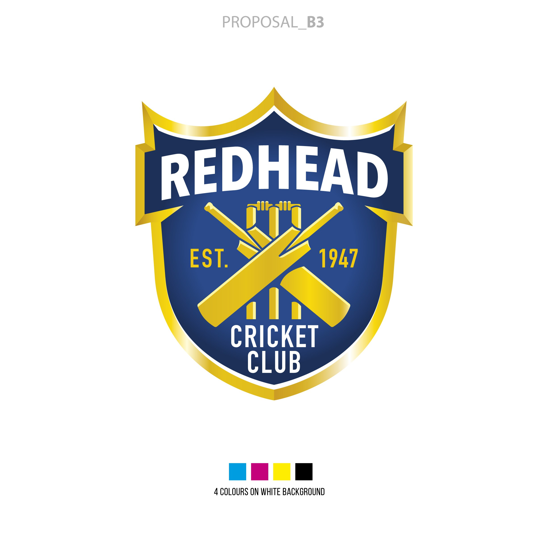 Create a Professional Redhead Cricket Club Shield