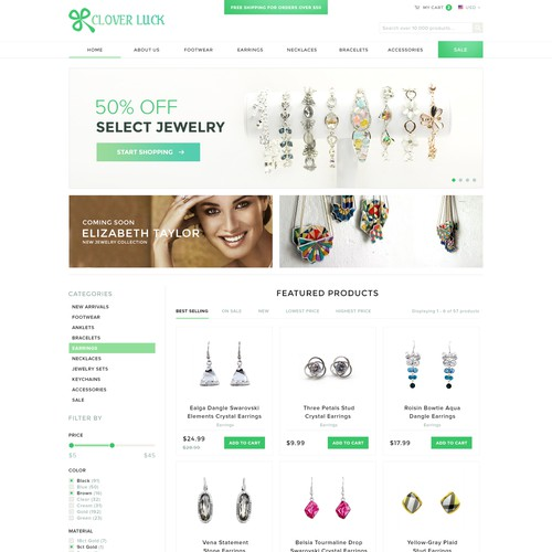 Homepage Design for Charm Jewelry and Accessories Store