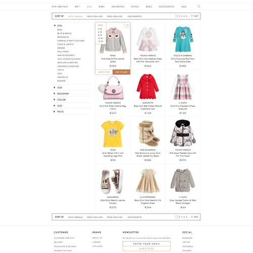 Online store specific category page.